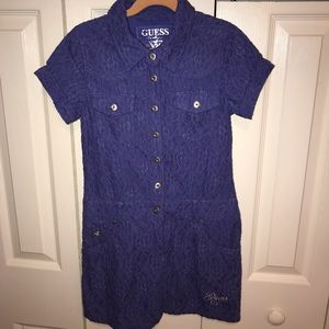 Guess Girls Blue Lacy Dress Size 10/12